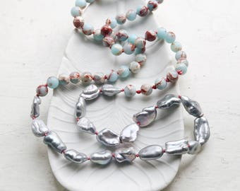 Turquoise bead necklace, Grey baroque pearl necklace, Long beaded necklace, Blue jasper, Color block necklace