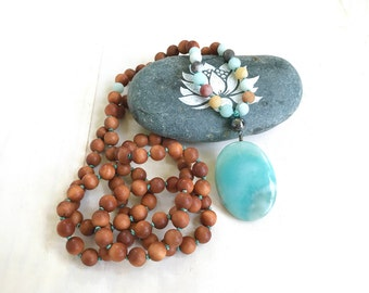 Amazonite Sandalwood Mala Beads, Earthy Mala Necklace, 108 Mala Bead Necklace, Yoga Meditation Beads, Yoga Jewelry, Hand Knotted Mala