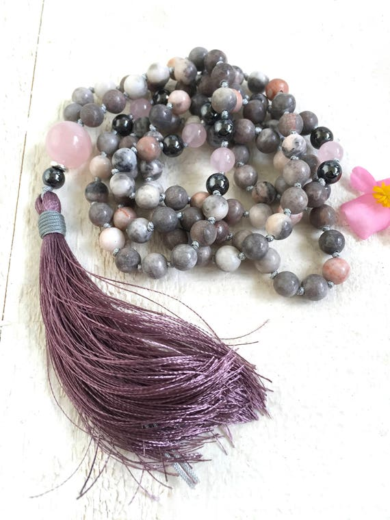 Jasper Mala Beads, Purple Tassel Mala, Pink Zebra Jasper Mala Necklace, Gemstone Mala, Silk Tassel Mala, Gemstone Knotted Mala Necklace