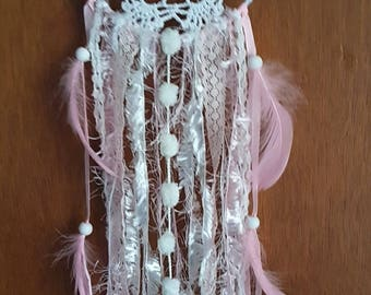 Handmade Gypsy Lace Amber Dream Catcher With  Lt Pink Goose Feathers Made To Order