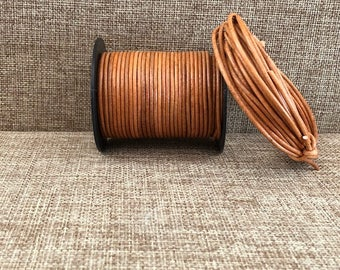 1.5mm Round Leather Cord - Natural Tan - Choose 1 Yard to 25 Yards - 1.5mm Natural Tan Round Leather Cord Made In India - LCR2-3016