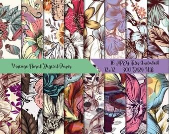 Floral Digital Paper, Vintage Floral, Flower Digital Paper, Fall Digital, Digital Paper Pack, Decal for Shops, Commercial Use, JPEG Files