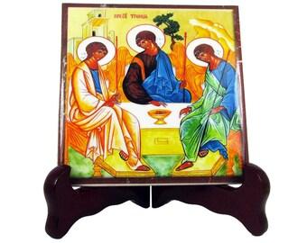 Christian gifts, Holy Trinity, religious art - ceramic tile handmade in Italy - christian gift, Holy Trinity Icon, religious icon orthodox