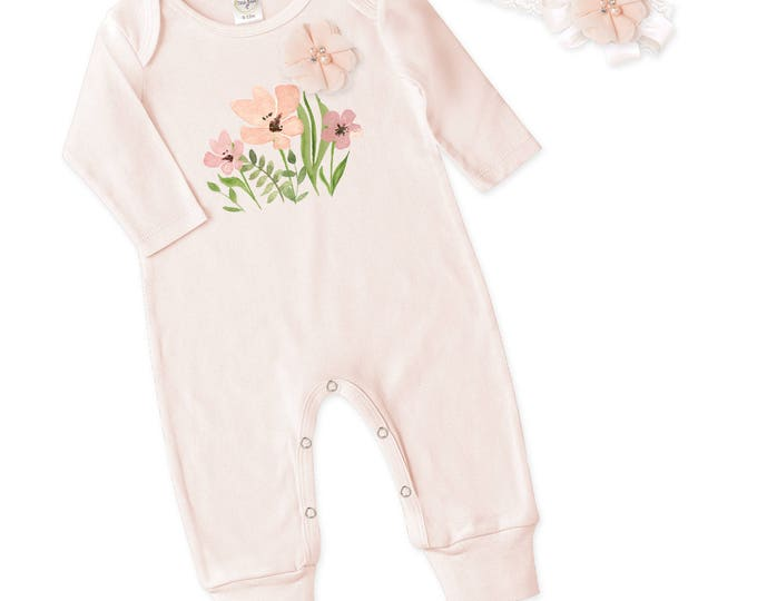 Baby Girl Pink Romper Headband, Newborn Girl Come Home Pink Outfit, Floral Romper Headband, Newborn Baby Girl Clothes Tesababe RH81BH59LCIY