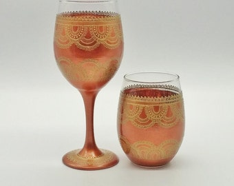 Boho Bohemian Mehndi Hand Painted Wine Glass in Stemmed or Stemless with Gold and Copper Detail