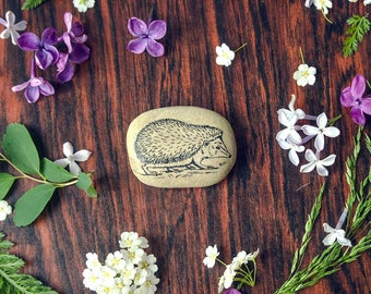 Hedgehog - Hedgehog  Art - Hedgehog Cute Gift - Cute Animal Decor - Stone Art  Animal Art Natural Stone Decor - Hedgehog Decor Paperweights