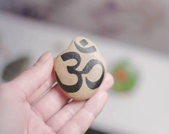 Om - Om Art - Meditation Stones - Om Decor - Meditation Decor - Yoga Gifts - Om Meditation Altar - Zen Decor - Zen Garden - Om Zen Art