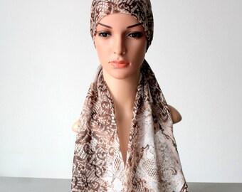 Silk Head Scarf Chemo Headwear Cancer Head Wrap Women Chemo Gift Headcover women headband Brown Cool Bandanas for Women Labor Day Sale
