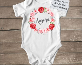 Watercolor baby etsy custom name onesie watercolor baby onesie floral wreath boho baby clothes personalized negle Images