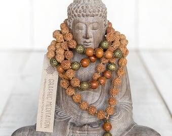 Rudraksha mala beads 108 Mala necklace, Yoga mala, Rudraksha meditation beads, Wood mala, Rudraksha tassel necklace, Long mala, Knotted mala
