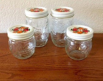 Lot of 4 Kerr Country Kitchen Jelly Jars / Kerr Canning Jars with White Bands and Decorated Lids / Fruit Embossed Canning Jars