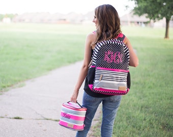 Monogrammed Backpack Set | Monogrammed Back Pack and Lunchbox | Lunch Pail | Back to School | Teen Backpack | School Set | Jadelynn Brooke