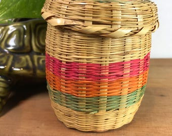 Vintage Mexican Woven Small Basket