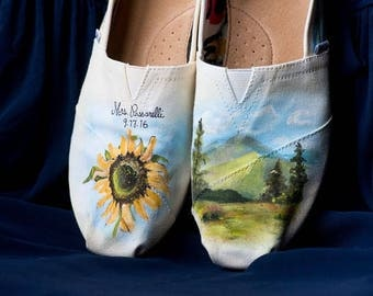 Bride's Love Story Shoes Unique Sunflower Wedding Shoes White Wedding Flats Personalized Gift Wedding Flats Wedding TOMS Outdoor Wedding