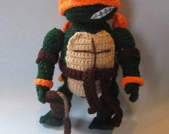 TMNT, Ninja Turtle Doll, Crochet, Handmade, Amigurumi, Handcrafted Dolls, Fighting Turtles, Mutant Ninja Turtles, Crochet Dolls, Great Gift