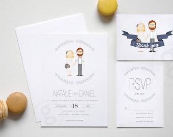 Personalized Illustration Wedding Package, Wedding Invitation, RSVP Card, Thank You Card, Custom Printable Design