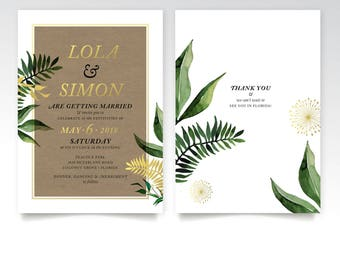 Eucalyptus Fern Dandelion Palm Invitation Rustic Tropical Garland Forest Leaf Vine Gold White Black New Year Black Tie Holiday Wedding PDF