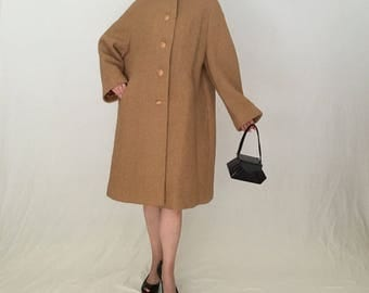 Plus Size 1950s boucle wool coat women 3x/Vintage 1950s coat/brown 50s coat/swing coat beige winter 60s 1960s coat retro rockabilly pin-up
