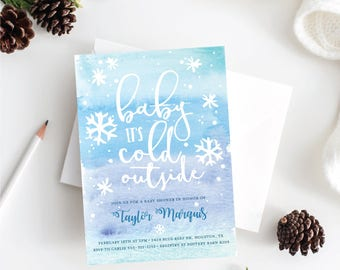 Baby Its Cold Outside Baby Shower Invitation . Printable Invitation . Digital Download . Blue Watercolor and Snowflakes . Winter Baby Shower