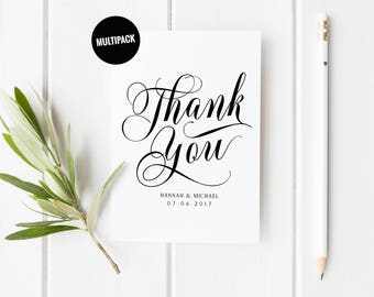 10 Wedding Thank You Cards, Personalised Thank You Card Pack, Newlyweds Thank You Card Set, From New Mr & Mrs, Special Wedding Thankyou Card