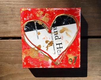 273. HEART ARTWORK - Original ART -  Small acrylic painting - Heart painting on canvas - Original Art Red Gold & White - Original Heart art