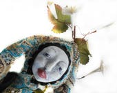 Meditation Art Doll Wall Hanger OOAK Cloth and Clay Boho Goddess  with White Paper Flowers for your Sacred Space