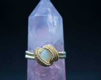 Opal Sterling Silver Wire Wrapped Ring