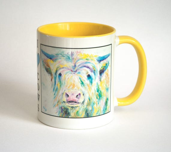 Cow Mug - Highland Cow Coffee Mug, Coffee Cup, Tea Cup, Coworker Gift, Colorful Coffee Mug, Gift For Her, Farmer Gift, I Heart Cows Mug.