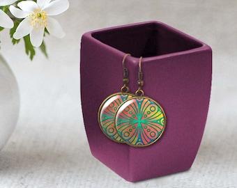 Ethnic earrings, Moroccan earrings, Tile earrings, Geometric earrings, Bohemian jewelry, Wearable art, Personalized boho earrings, 5118-3