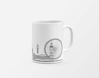 London Skyline Mug Black | City mug | London Illustration | Architecture Print | Christmas gift