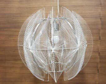 Large retro Pendant Light like Swag lamp by Paul Secon white nylon wire, lucite spider light