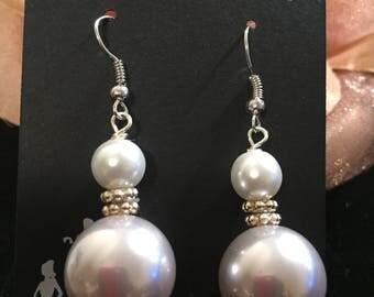 Champagne Dangling Earrings Pearl Wedding Bride