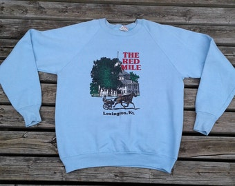 """Vintage 80's / 90's """"The Red Mile"""" / Lexington, Kentucky / Horse Racing / Harness Racing / Baby Blue crew-neck sweatshirt Made in USA large"""