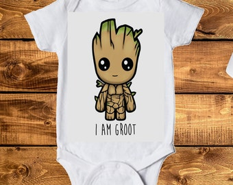 Groot, guardians of the Galaxy, inspired Onesie, I AM Groot Toddler Tee, Baby Onesie, infant clothing, children's clothing, toddler clothes