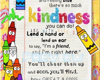 Kid's Digital Print-Wall Art-Nursery, Classroom, Playroom, Homeschool Decor-Teaching Kindness-Character Education Motivational Poster