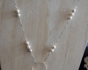 Stunning Artisan Silver, Pearls and Pink Opal Necklace~ ~Mother's Day Gifts~ Peruvian Opal Jewelry ~