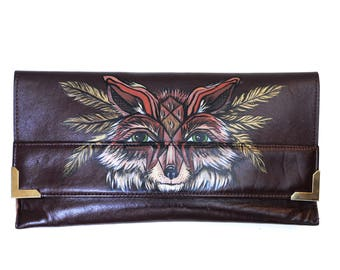 Magic Fox Hand Painted Upcycled Women's Jane Shilton Vintage Leather Clutch Bag