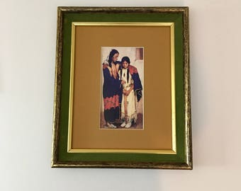 Vintage Framed Native American Art Print / American Indian Giclee Print / Framed Native American Print  / The Wedding