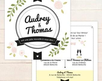 Faire-part MARIAGE personnalisable // Faire-part recto/verso carré pour annonce jolie nouvelle à télécharger en pdf ou à imprimer