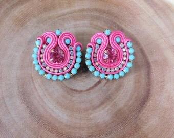 Multicolor Earrings/ Soutache pink Earrings/ Stud Earrings/ small Soutache Earrings/ Colorful Earrings/ Boho-Chic/ Mini Soutache