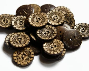10 Buttons 25mm - 1 Inch Carved Coconut Shell Buttons - Brown Natural Wood Button Flower Button Flower - Large Buttons Wooden - Wood Buttons