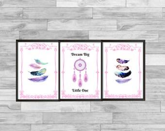 Nursery Dream Catcher wall art - Pink dream catcher theme nursery print- Dreamcatcher Wall Art - dream big little one, girls,
