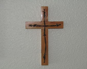 wood cross, reclaimed wood, upcycled wood cross, barb wire cross,