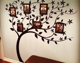 Family TREE blowing tree photo wall VINYL wall decal