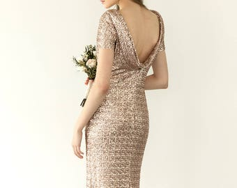 Rose gold sequin evening dress, backless evening gown, sequin cocktail dress, prom dress  / Mimosa