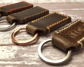 Personalized Keychain | Keychain for Men | Custom Leather Keychain | Womens Key fob | Personalized Brown Leather Key Chain |