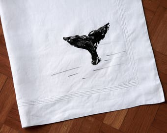 Hand printed pillowcase with cetacean tail motif-hand stamped whale pillow case