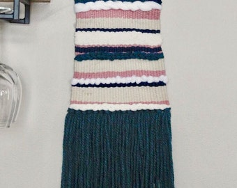 Woven Wall Hanging with Berry Tones