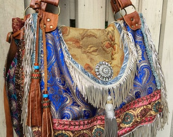 Custom Bohemian Gypsy Traveler Hobo Bag ~ Festival Bag, Overnight Bag, Exotic Bohemian Slouch Bag with Genuine Leather ~ Made to Order