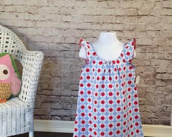 Little Girl Dress // Custom Red White and Blue Flutter Sleeve A-line dress size 3/4